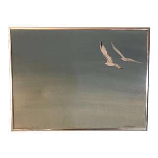 1976 Vintage Seagull Blue Sky Painting For Sale