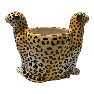 1980s Italian Ceramic Leopard Cachepot For Sale