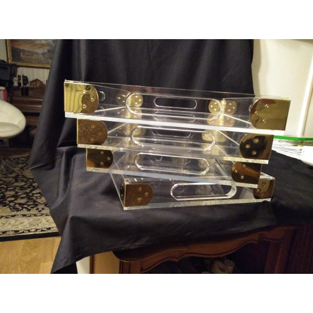 Contemporary 1970's Jonathan Adler Minimalist Lucite Trays For Sale - Image 3 of 10