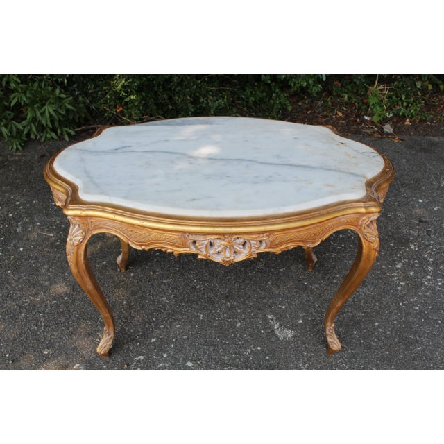 20th Century Louis XVI Center or Coffee Table With Marble Top For Sale In Atlanta - Image 6 of 6