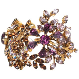 Tom Binns Swarovski Crystal Floral Garden Cuff Bracelet Unsigned For Sale