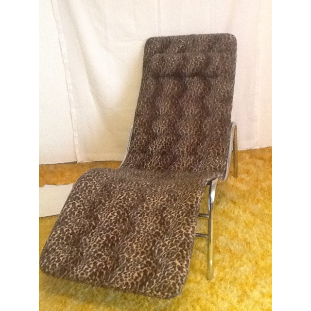 Brown Leopard Upholstered Wave/Chaise Lounge For Sale - Image 8 of 8