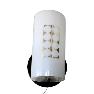 Mid - Century White & Gold Wall Lamp / Sconce For Sale