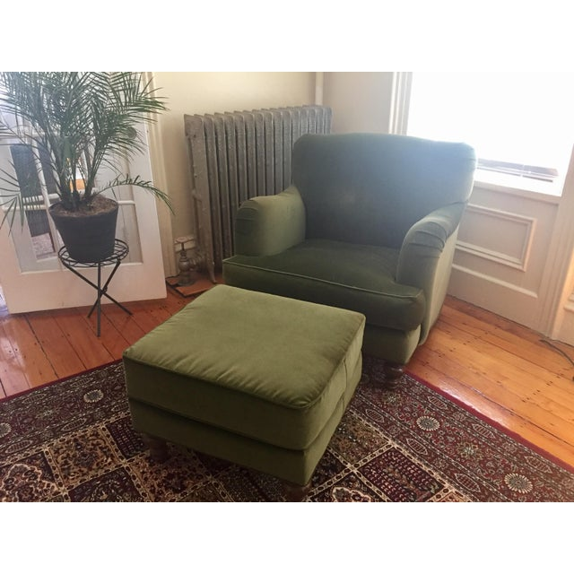 """I have a Roger + Chris velvet Basel armchair and ottoman to sell. It's gorgeous and incredibly comfortable. 24"""" deep seat,..."""