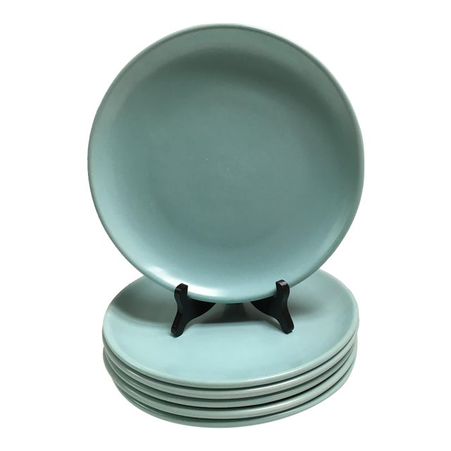 Mid Century Aqua Pottery Plates - Set of 6 - Image 1 of 8
