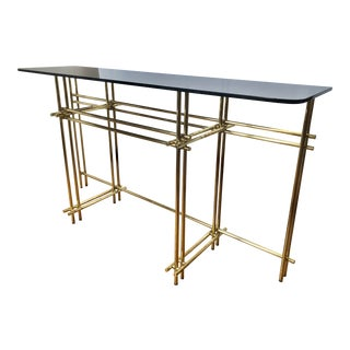1970s Modern Brass Console Table