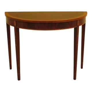 1990s Federal Wellington Hall 1/2 Round Inlaid Mahogany Console Table For Sale
