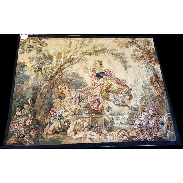 "Silk 19th Century Antique French Tapestry ""Romantic Pattern"" For Sale - Image 7 of 7"