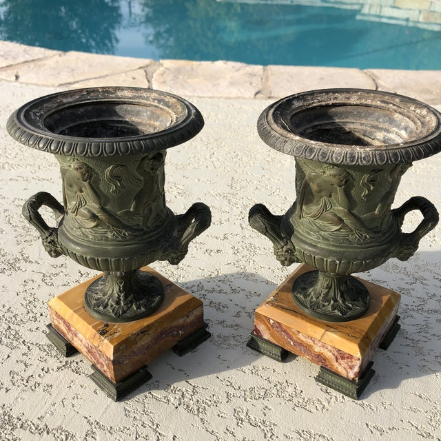 1920s Antique French Egg & Dart Victorian Marble Cast Urns- a Pair For Sale - Image 10 of 12