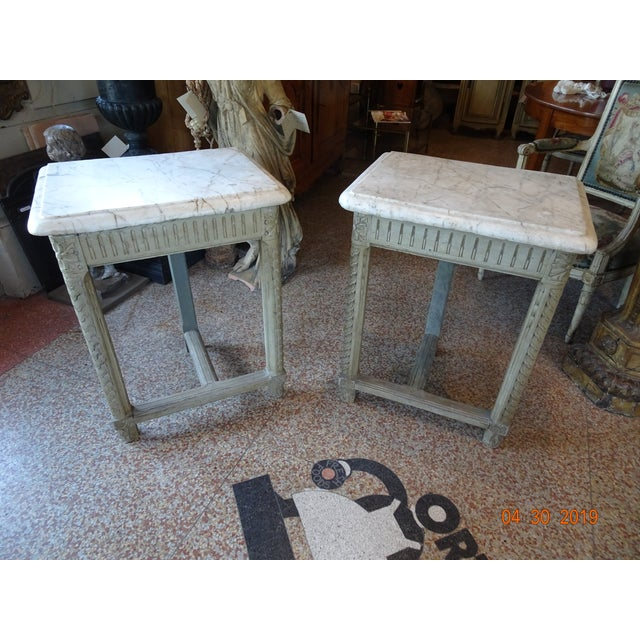 Pair of French Marble Top Consoles For Sale - Image 10 of 11