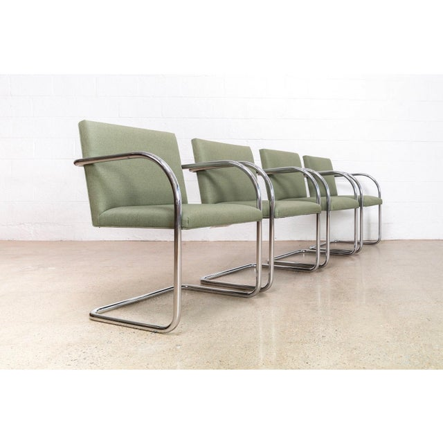 Gordon International Mies Van Der Rohe Green Brno Chairs For Sale - Image 4 of 11