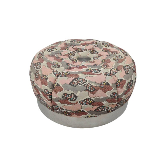 Mid Century Modern Round Pink Tufted Chrome Base Souffle Pouf Ottoman For Sale
