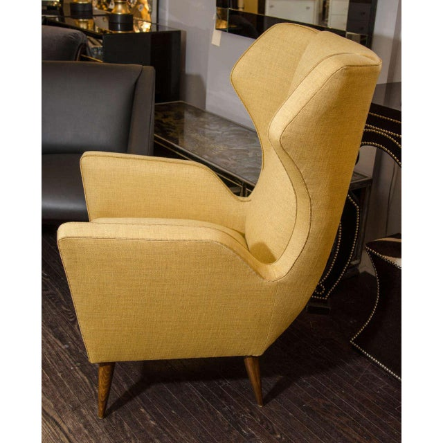 Textile Custom Modernist Armchair and Ottoman For Sale - Image 7 of 10