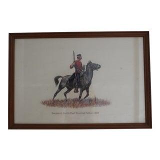 1885 Redcoat Riding on Horse Framed Artwork