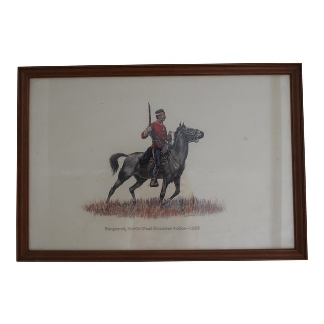 1885 Redcoat Riding on Horse Framed Artwork For Sale