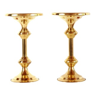 Hollywood Regency Brass Pedestal Display Stands / Side Tables - a Pair