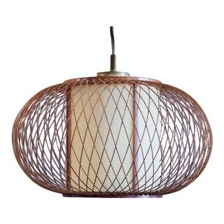 1960s Hikari Woven Bamboo Pendant Light For Sale