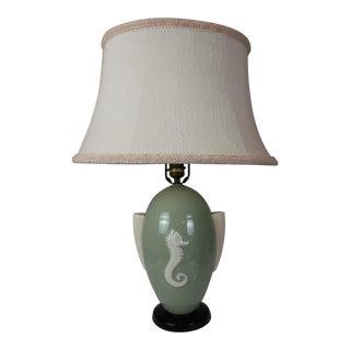 Lenox Deco Celadon Seahorse Lamp For Sale