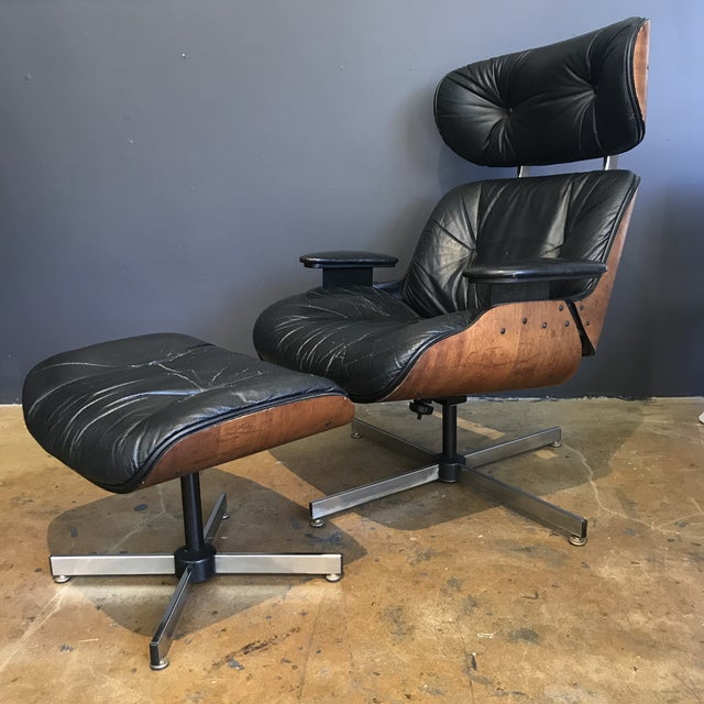 Mid-Century Eames Style Lounge Chair & Ottoman - Image 2 of 9