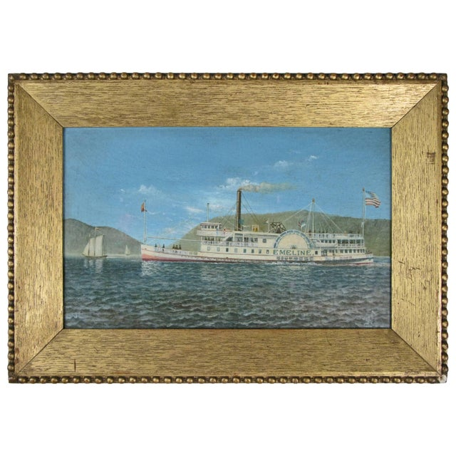 Oil on Canvas Paddle Steamer Painting by Albert Nemethy For Sale In New York - Image 6 of 6