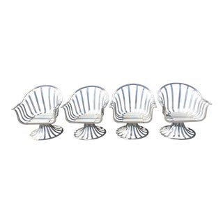 Russell Woodard Aluminum Tulip Shaped Swivel Lounge Chairs - Set of 4 For Sale