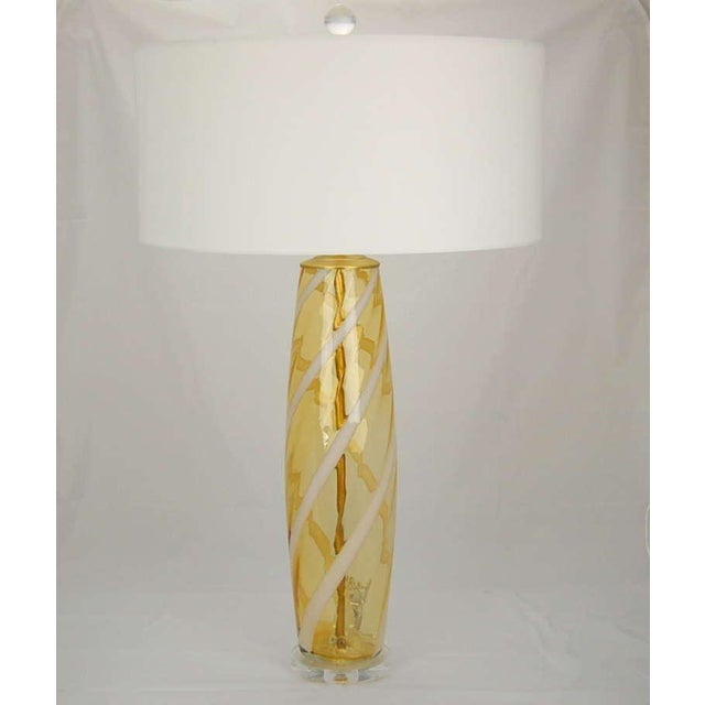 Vintage Italian Glass Vintage Venetian Glass Table Lamps Yellow For Sale - Image 4 of 8