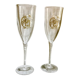 Vintage Crystal Perrier Jouet Champagne Flutes - a Pair For Sale