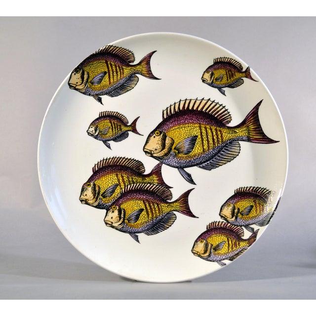 Italian Rare Piero Fornasetti Pottery Fish Plate, Passata de pesce (Passage of Fish) or Pesci. For Sale - Image 3 of 3