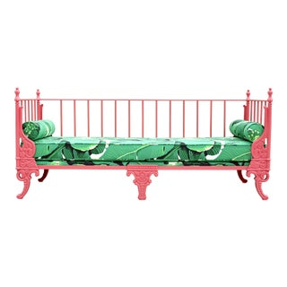 Blush Antique French Iron Daybed - Professionally Restored W/ Dorothy Draper Fabric For Sale