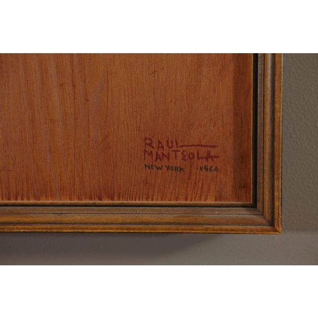 Raul Manteola, Portrait of a Gentleman, New York, 1964, Rare Pencil on Wood For Sale - Image 4 of 6
