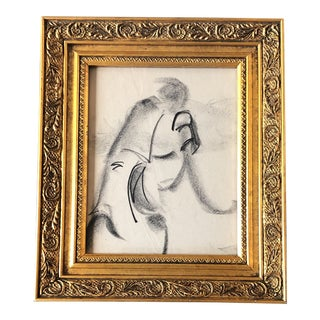 Original Vintage Abstract Charcoal Figure Study Drawing Frame For Sale
