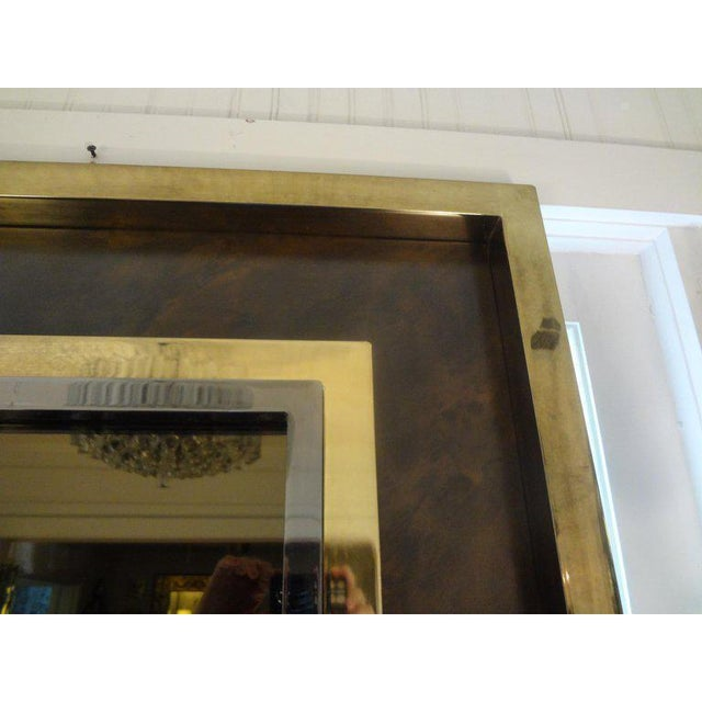 1960s Italian Romeo Rega Style Mid-Century Modern Square Mirror For Sale - Image 5 of 10