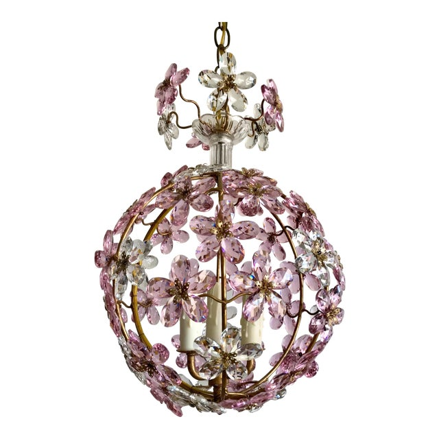 Pink Floral Crystal Globe Beaded Chandelier For Sale
