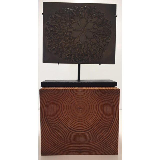 """1970s 1970s Vintage Ruth Asawa """"Flower"""" Cast Bronze Bas Relief Sculpture For Sale - Image 5 of 7"""