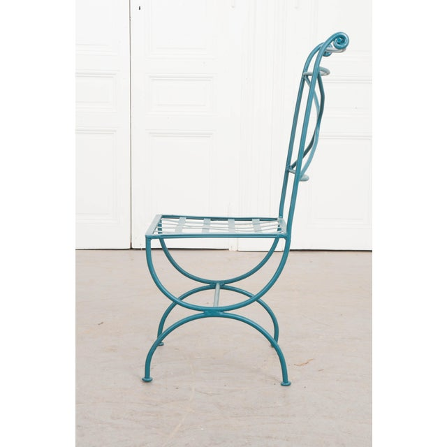 Suite of Eight Early 20th-Century Neoclassical-Style Painted Wrought-Iron Side Chairs For Sale - Image 9 of 13