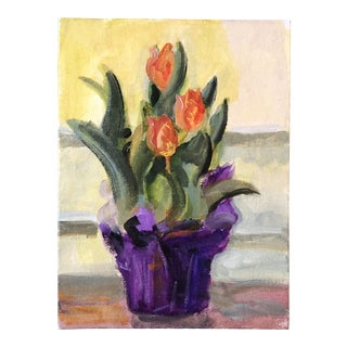 Original Contemporary Impressionist Painting Tulips For Sale