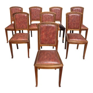 1930s Vintage French Art Deco Majorelle Style Solid Walnut Dining Chairs - Set of 8 For Sale