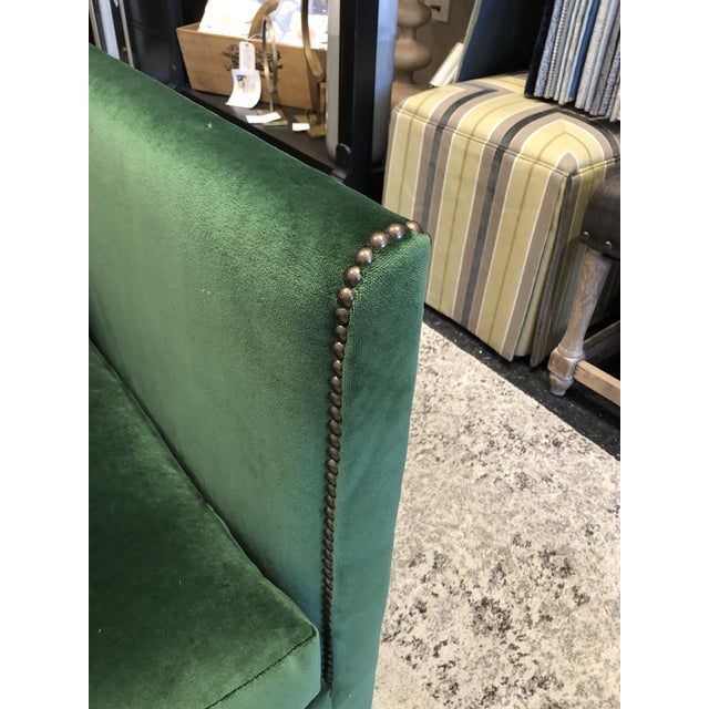Keeneth Ludwig Chicago Highland House Emerald Green Velvet Sofa For Sale - Image 9 of 11