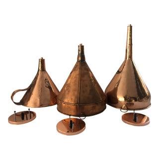 Antique 19th Century Copper Funnel Light Pendants - Set of 3 For Sale