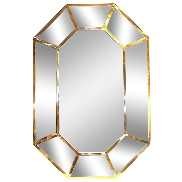 Gold Brass Beveled Mirror-On-Mirror For Sale - Image 8 of 8