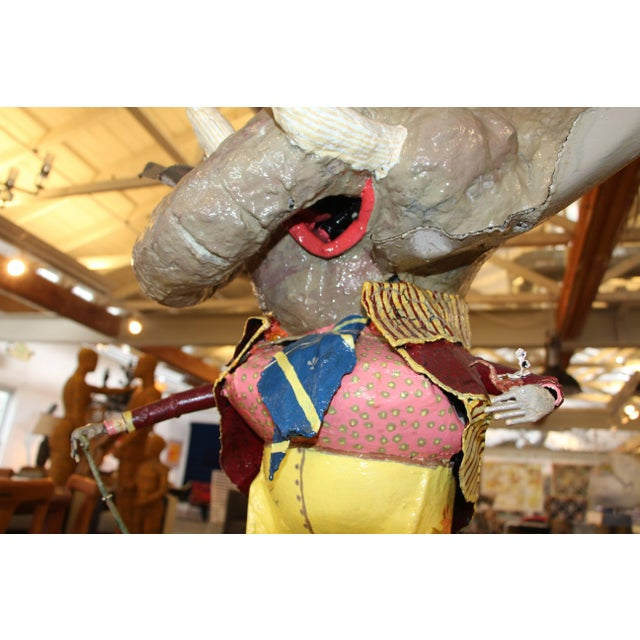 Blue Elephant With a Cane Sculpture Signed and Dated 1984 For Sale - Image 8 of 11