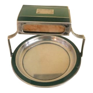 Deco Sterling Silver and Green Enamel Match Holder Ashtray