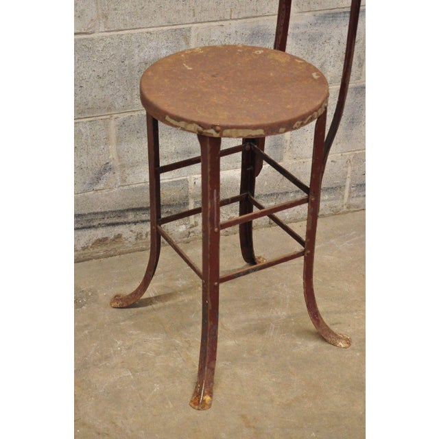 Antique Steel Metal Industrial Drafting Architect Work Stool For Sale - Image 9 of 12