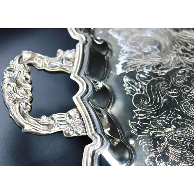 Metal French Silver Plate Footed Tray With Ornate Scrolls and Engravings For Sale - Image 7 of 10