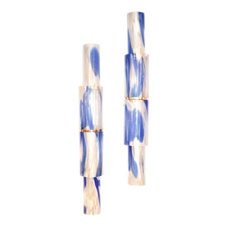 Venini 1960s Organic White Blue Gold Murano Glass Tall Modern Wall Lights - a Pair For Sale
