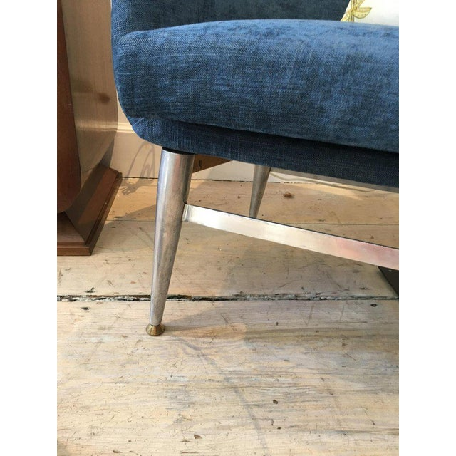 Mid-Century Modern Blue Silk Linen Chairs With Chrome Base and Legs - a Pair For Sale In Nantucket - Image 6 of 10