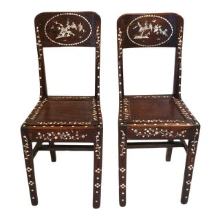 Antique Mother of Pearl Inlaid Rosewood Chairs-Pair For Sale