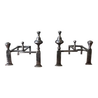 Art Deco Style Polished Iron Andirons - a Pair For Sale