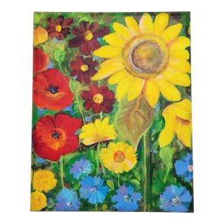 Mexican Sunflowers Garden Painting For Sale