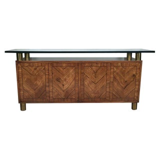 1970s Mid-Century Modern Mastercraft Rosewood and Brass Credenza For Sale